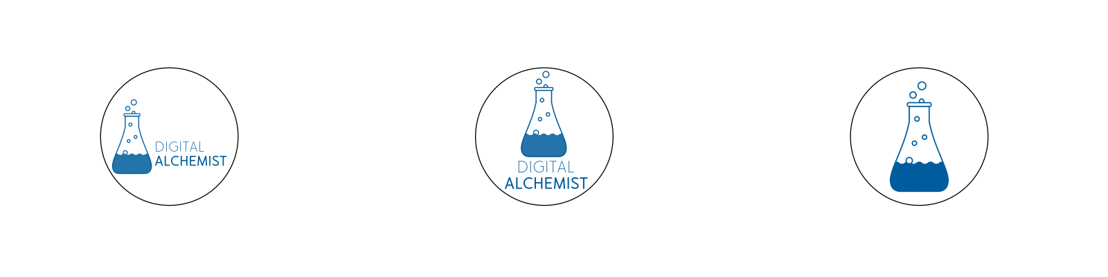 digital alchemist brand logo design variations